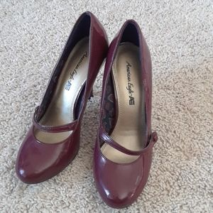 "3"" Raspberry Colored Faux Leather Heels"